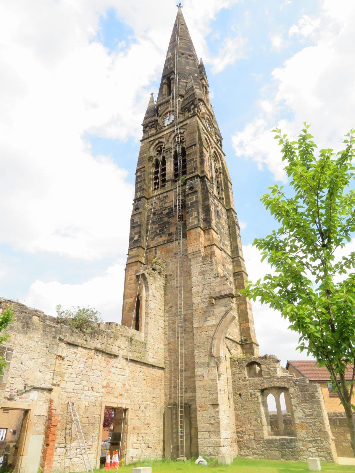 190 foot church spire