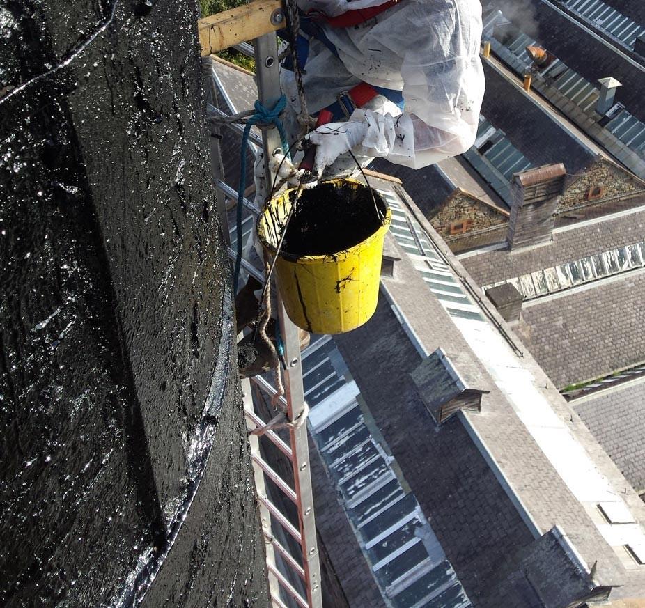 Painting chimney smokeband - black bitumastic paint