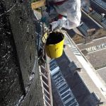 Painting chimney smokeband - black bitumastic paint