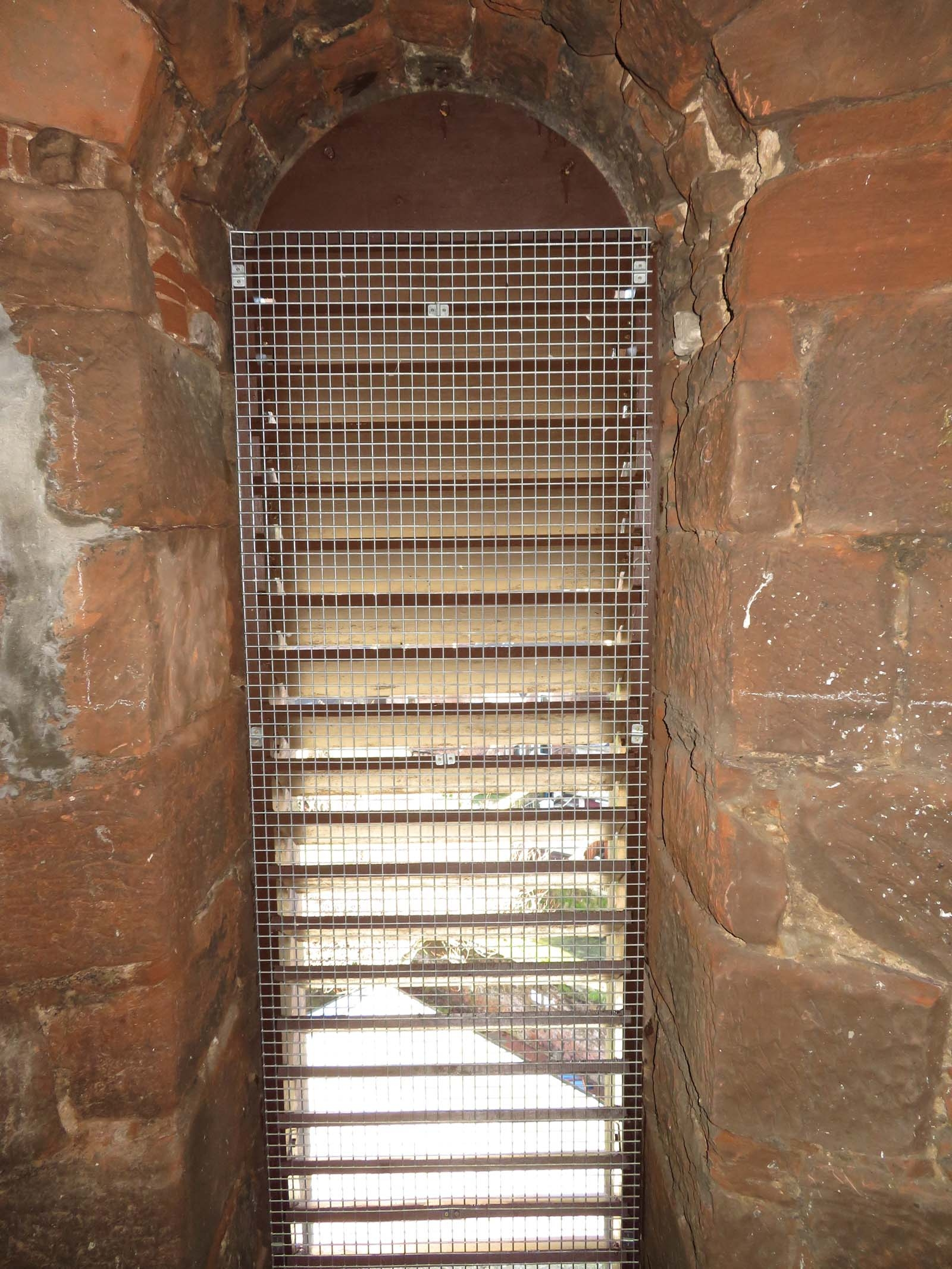 Fully meshed sapele hardwood louvres installed and painted with 3 coats of paint on a Dumfriesshire church steeple