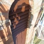 Sapele hardwood louvres installed on a Dumfriesshire church steeple