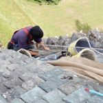 Applying lime mortar