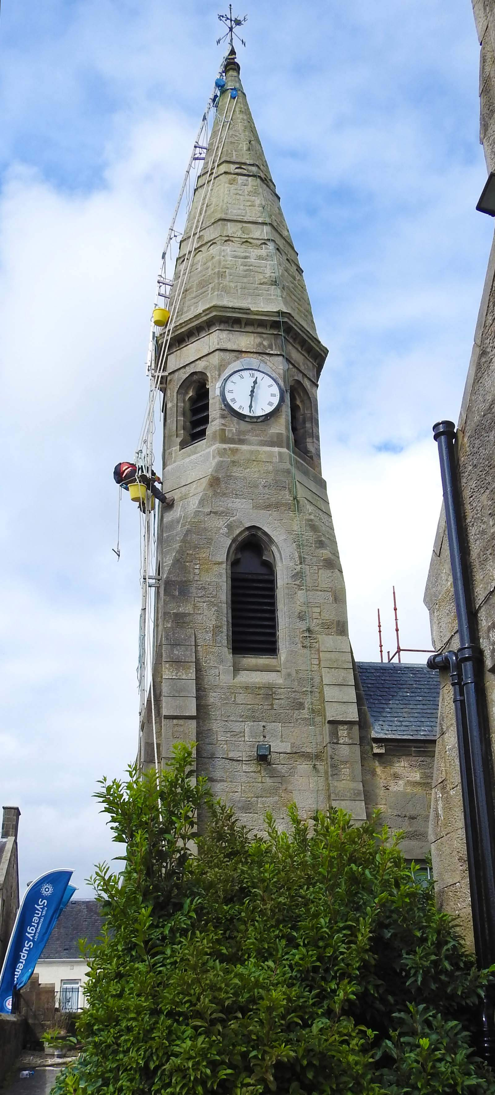 Bosuns chair access on a church spire hydraulic lime pointing contract
