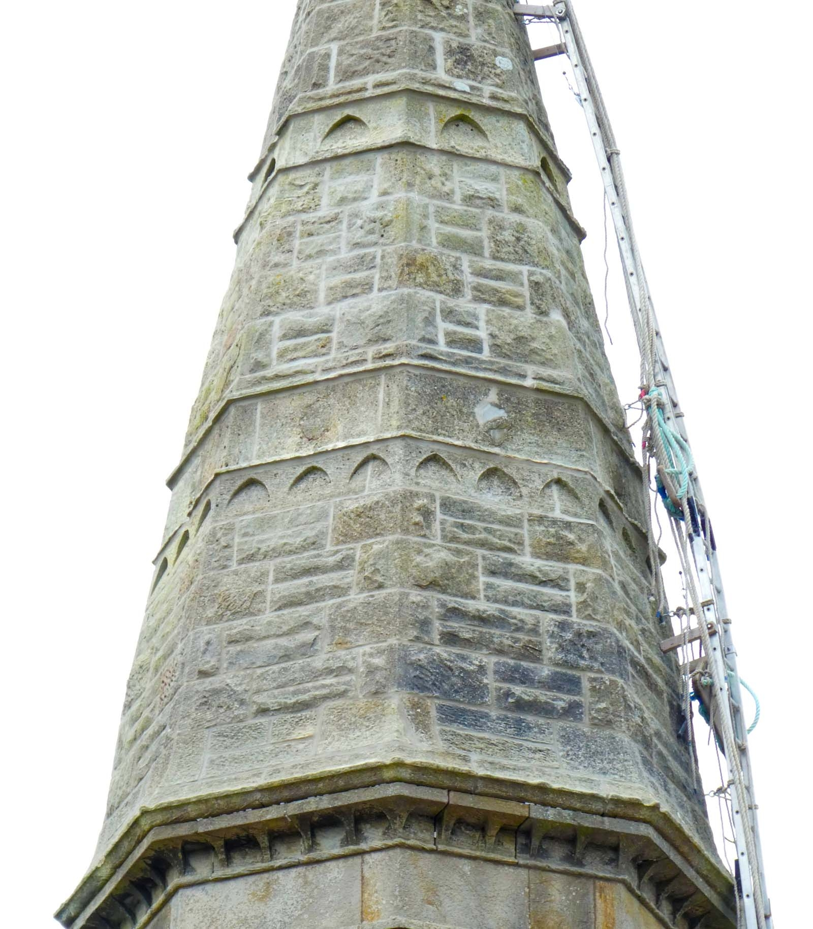Church spire fully pointed with quality hydraulic lime mortar