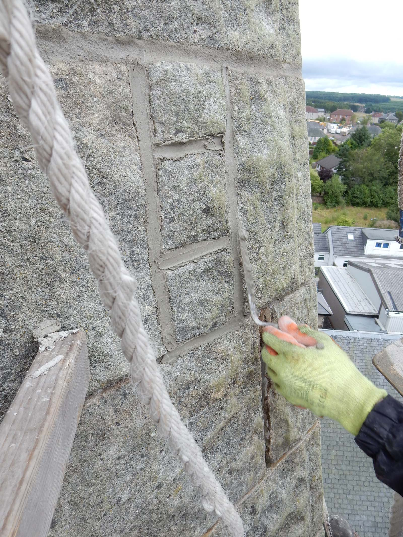 Hydrauliic lime pointing in progress