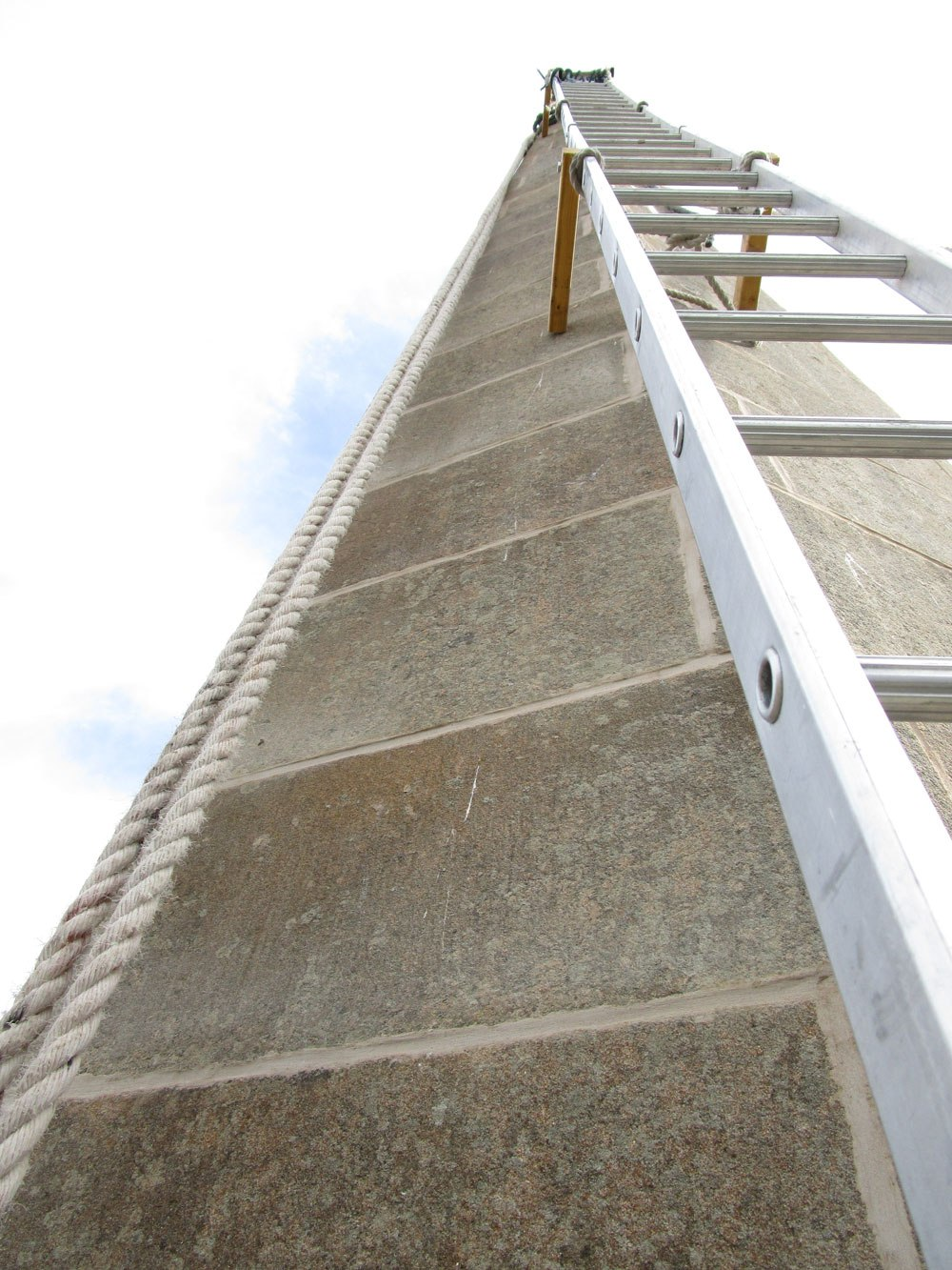 Looking up at the new lime pointing work