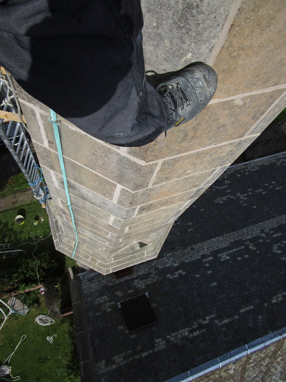 Looking down the spire on the new lime pointing work