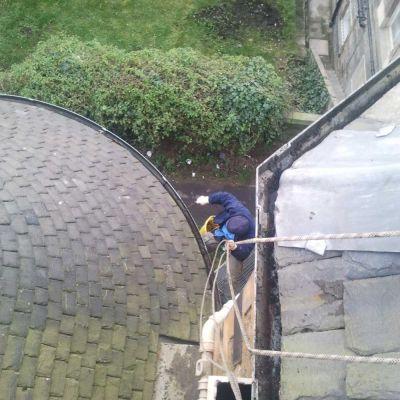 Abseil access - gutter clearing 1